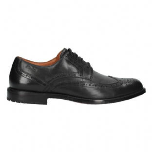 Clarks Mens Dorset Limit Brogue Black Leather Shoes